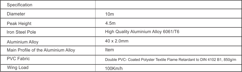 Pagoda Tent Specification